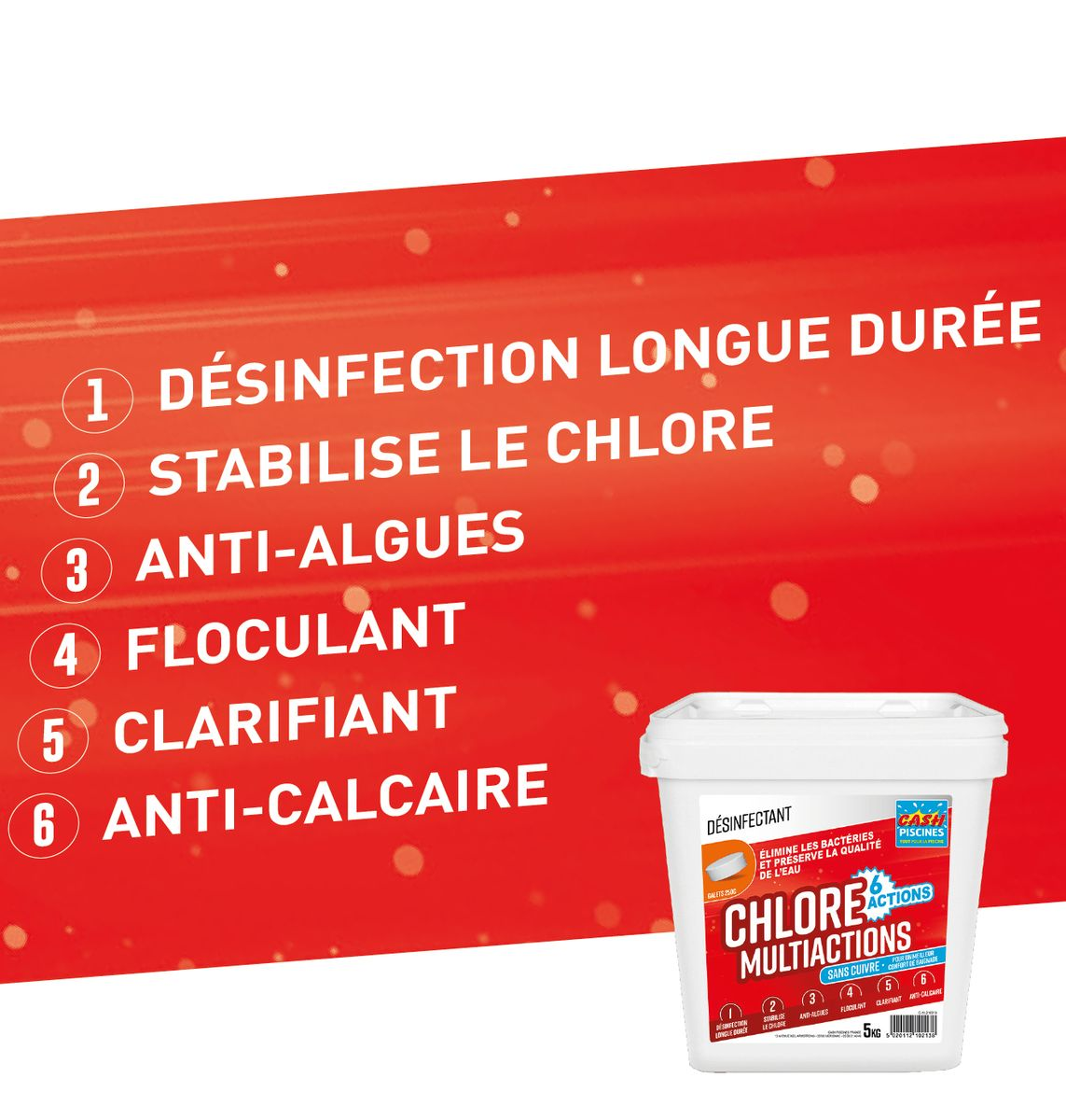 CHLORE MULTIACTIONS 5KG SANS CUIVRE - 6 ACTIONS