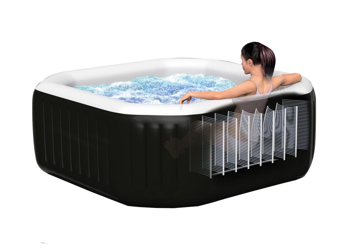 Spa gonflable intex purespa octo 4pl bulles jets noir for Avis cash piscine